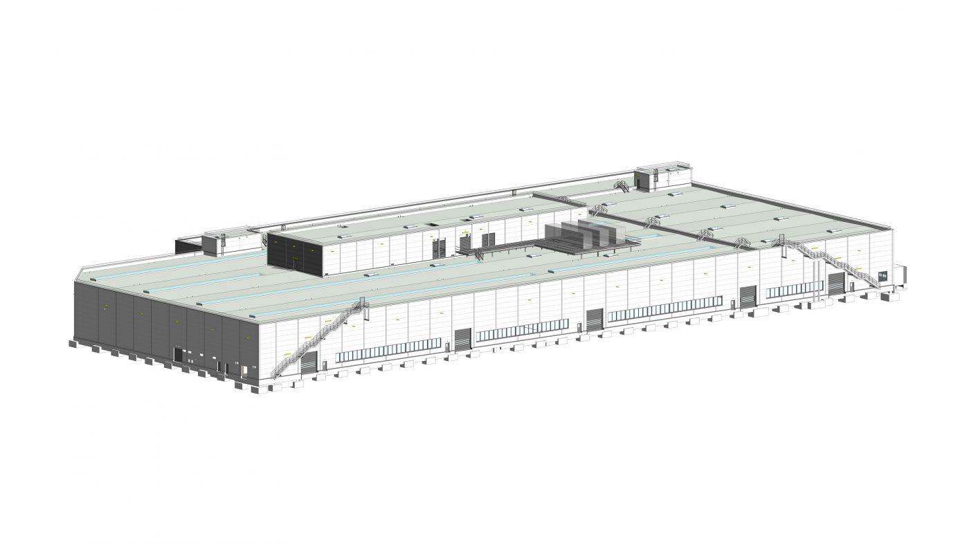 Wabe-Plan Architektur Industriehalle Esslingen Automobilhersteller, 3D BIM