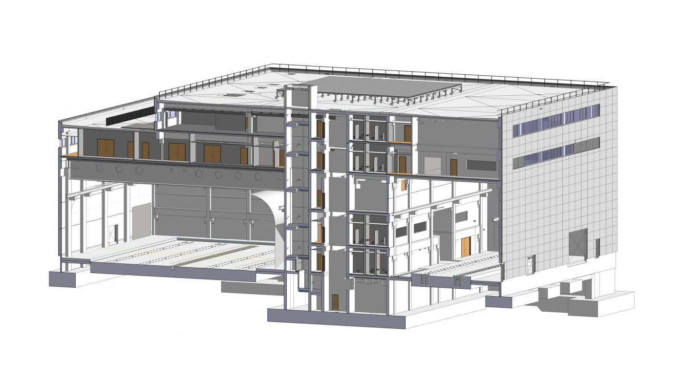Wabe-Plan Architektur Fahrsimulationszentrum Revit 3D